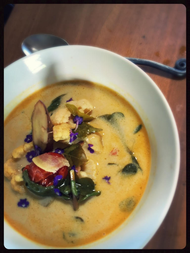 Coconut curry soup. 100% Local  and Wild.