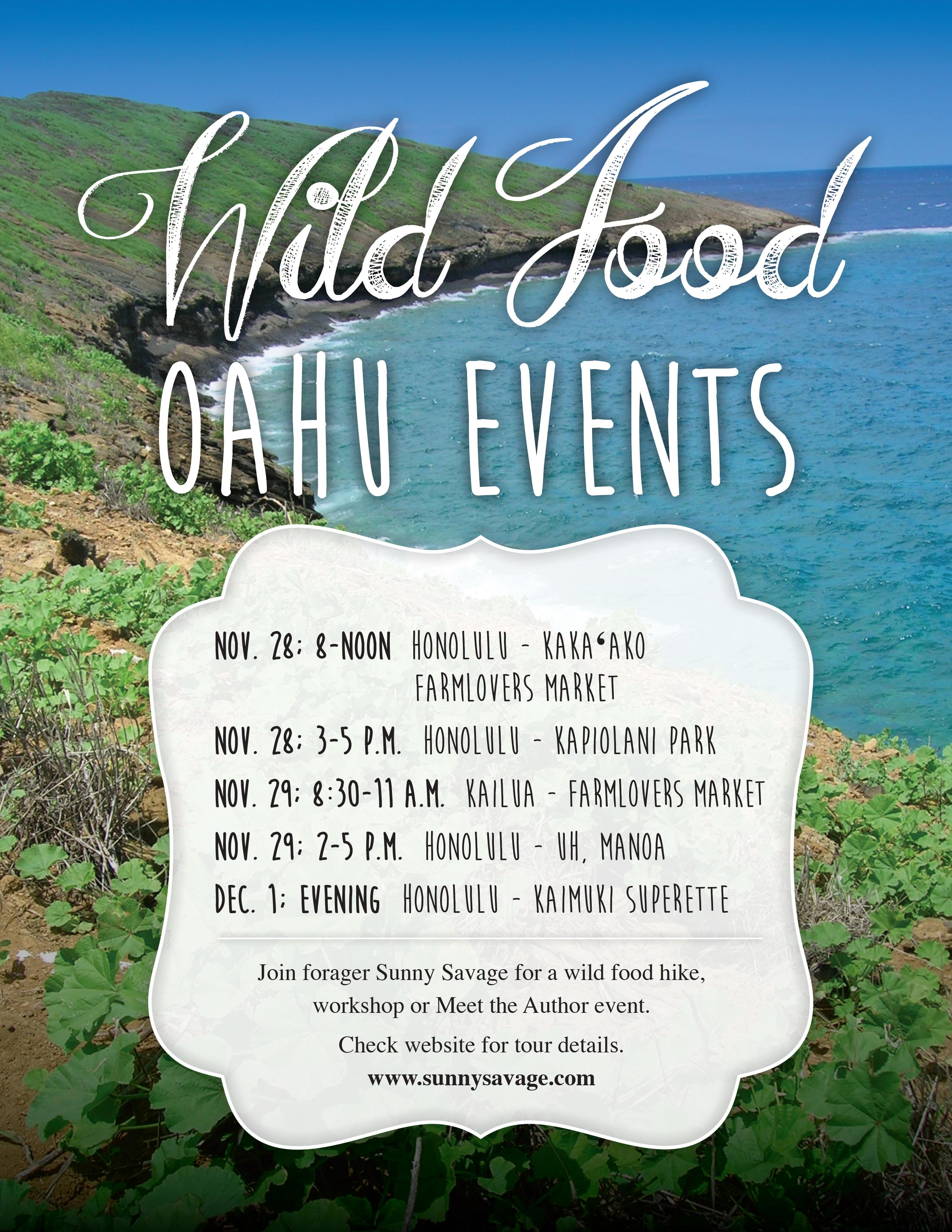 Oahu wild food Events Flyer